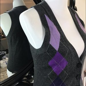 Express purple & gray sweater vest size Small